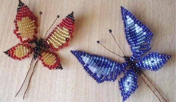 Красивый элемент декора-бабочка из бисера