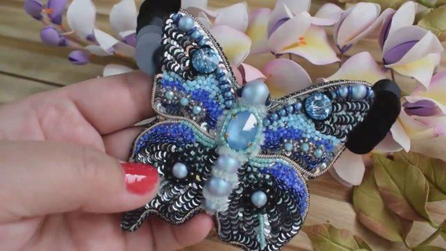 Отделка и дизайн броши-бабочки