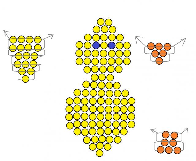 Схема плетения объемного цыпленка