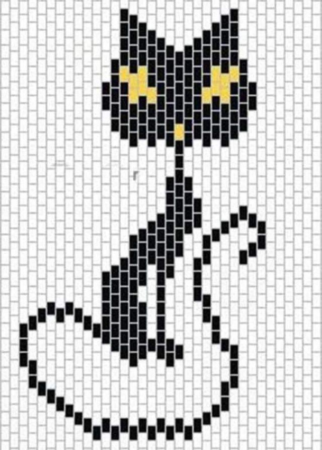 Схема плетения кота-брелка