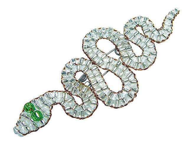 Змейка-брошь из бисера