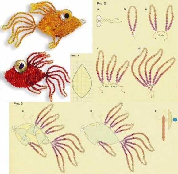Золотая рыбка из бисера