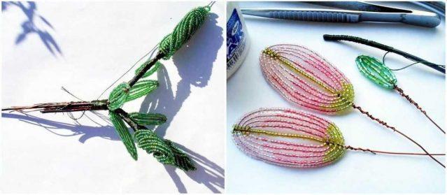Сборка лилии из бисера
