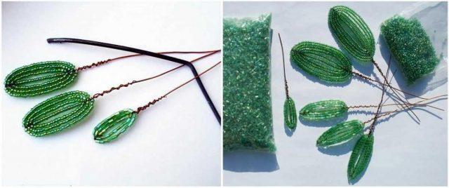 Плетение листиков для цветов из бисера