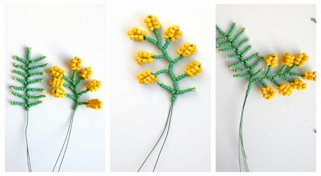 Схема плетения мимозы