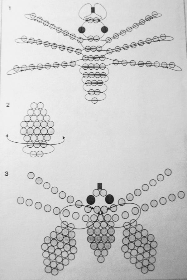 Схема плетения мухи из бисера