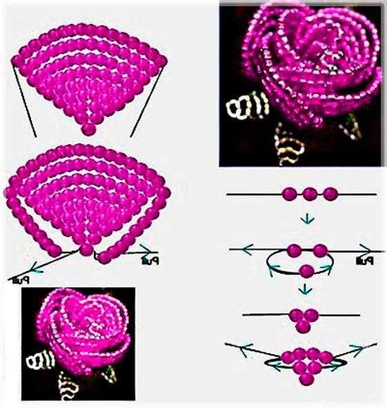 Роза параллельным плетением