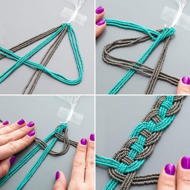Плетение простого браслета из бисера