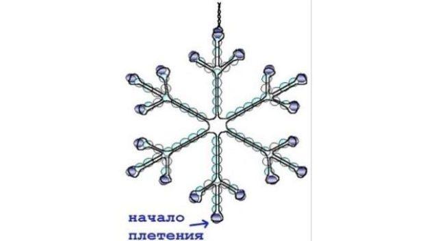 Техника плетения-снежинка