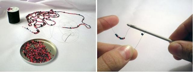 Воздушное колье из бисера-схема плетения