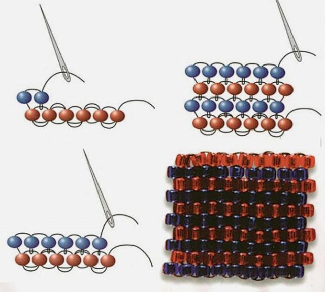 Схема плетения кирпичиком