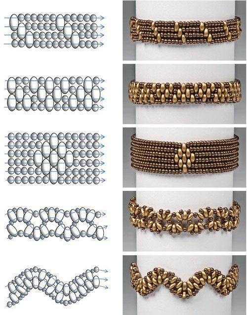 Схемы плетения браслетов из бусин и бисера