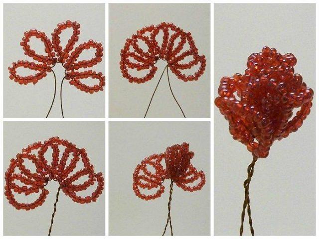 Пошаговая инструкция по плетению роз из бисера