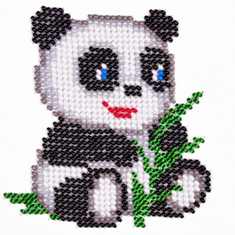 Вышивка панды из бисера