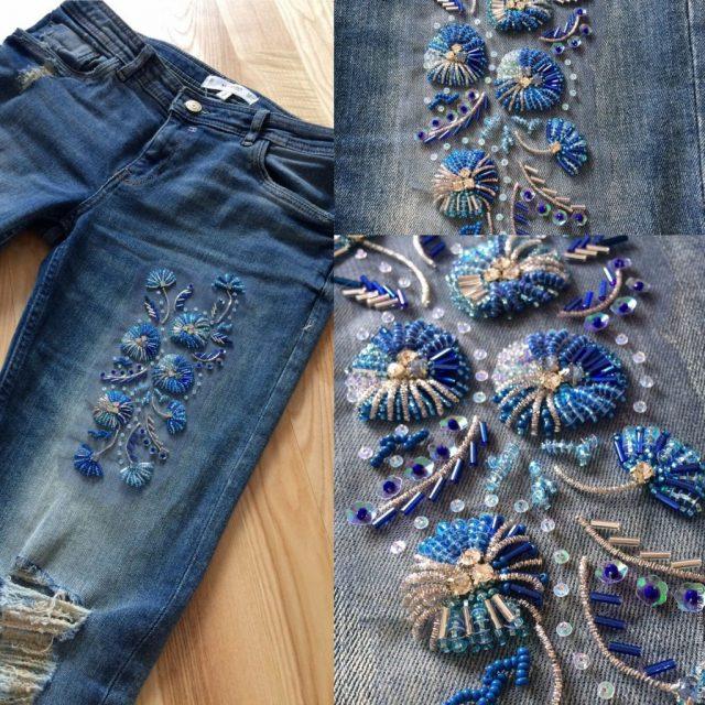 Вышивка бисером на джинсах