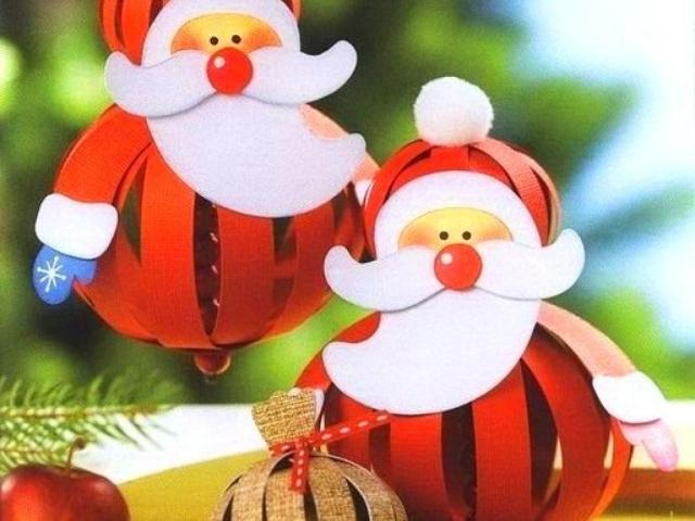 Дед Мороз из бумаги игрушка на ёлку