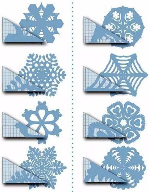 Схемы вырезания снежинок